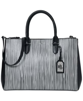 Lauren Ralph Lauren Newbury Stripe Double Zip Satchel