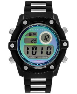Sean John Men's Digital Two-Tone Bracelet Watch 49x55mm 10026893