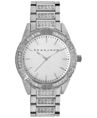 Sean John Men's Crystal Accent Silver-Tone Bracelet Watch 48mm 10018091