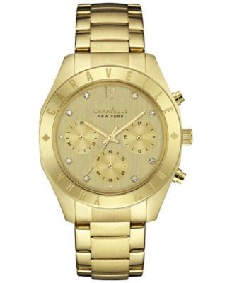 Caravelle New York by Bulova Women's Chronograph Gold-Tone Stainless Steel Bracelet Watch 36mm 44L21