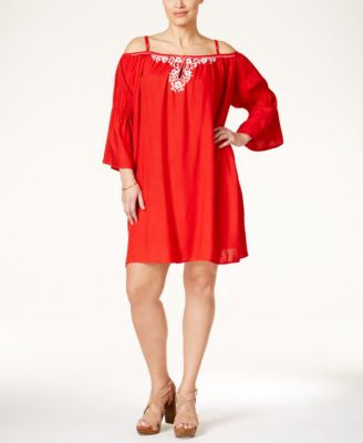Love Squared Plus Size Embroidered Cold-Shoulder Dress