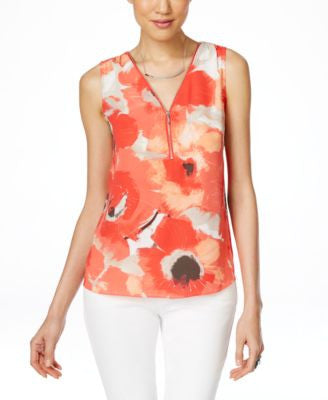 INC International Concepts Petite Printed Zip-Front Shell, Only at Vogily