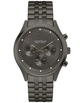 Caravelle New York by Bulova Men's Chronograph Gray Stainless Steel Bracelet Watch 41mm 45A133