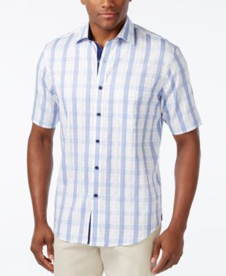 Tasso Elba Men's Tattersall Plaid Short-Sleeve Shirt, Only at Vogily