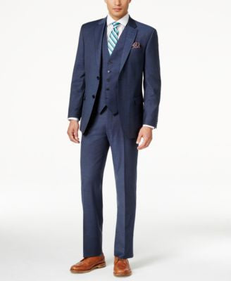 Tommy Hilfiger Men's Classic-Fit Blue Tick-Pattern Vested Suit
