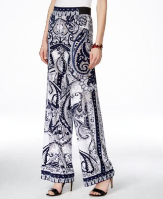 INC International Concepts Petite Printed Wide-Leg Pants, Only at Vogily