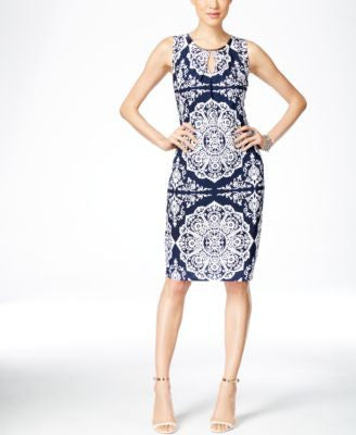 INC International Concepts Printed Keyhole Sheath Dress, Only at Vogily