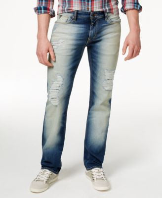 GUESS Men's Original Straight-Fit Destroyed Warmth Wash Jeans