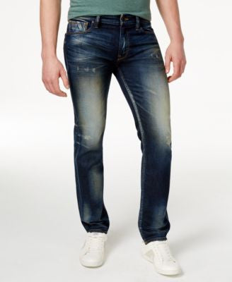 GUESS Men's Slim-Straight-Fit Burnt Wash Jeans