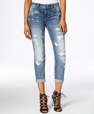 Miss Me Ripped Boyfriend Ankle Medium Blue Wash Jeans