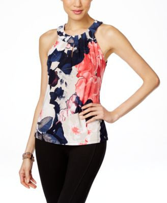 INC International Concepts Printed Keyhole Halter Top, Only at Vogily