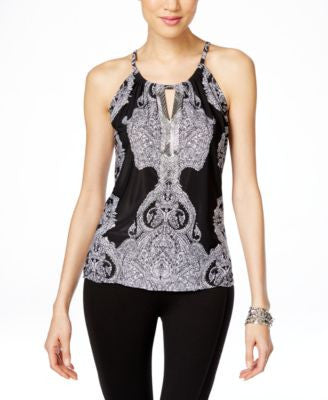 INC International Concepts Printed Embellished Halter Top, Only at Vogily
