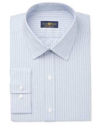 Club Room Estate Men's Classic-Fit Wrinkle Resistant Grey Stripe Dress Shirt, Only at Vogily