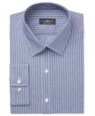 Club Room Estate Men's Wrinkle Resistant Indigo Stripe Dress Shirt, Only at Vogily