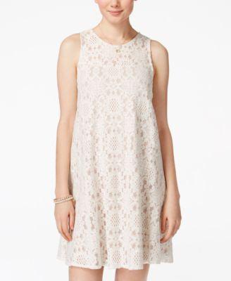 American Rag Juniors' Lace Illusion Shift Dress, Only at Vogily