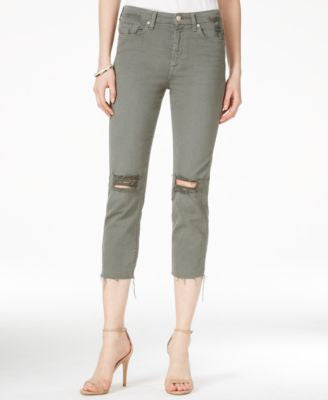 7 For All Mankind Ripped Cropped Skinny Jeans