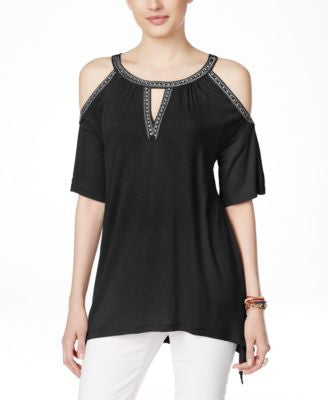 INC International Concepts Embellished Cold-Shoulder Blouse, Only at Vogily