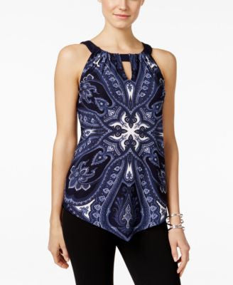 INC International Concepts Printed Handkerchief Halter Top, Only at Vogily