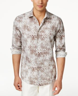 Tallia Men's Leaf Print Shirt, Only at Vogily