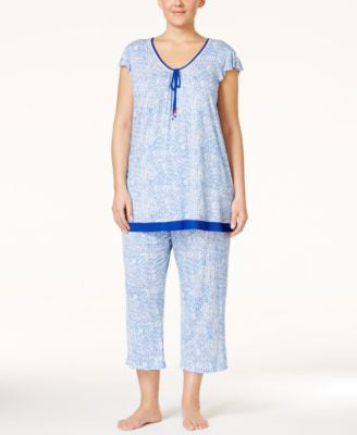 Ellen Tracy Plus Size Cap-Sleeve Pajama Top & Cropped Pajama Pants Sleep Separates