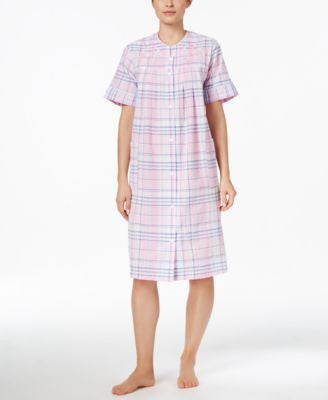 Miss Elaine Short Embroidered-Trim Plaid Robe