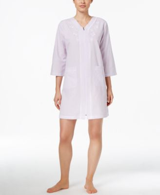 Miss Elaine Short Embroidered-Trim Robe