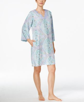 Miss Elaine Long-Sleeve Paisley Print Nightgown