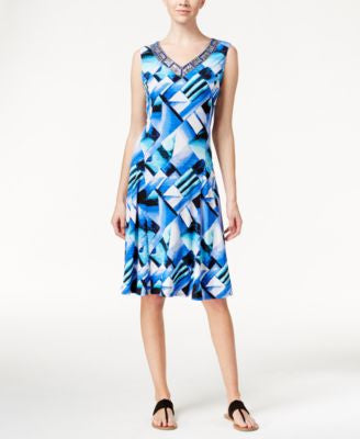 JM Collection Geo-Print Sleeveless A-Line Dress, Only at Vogily