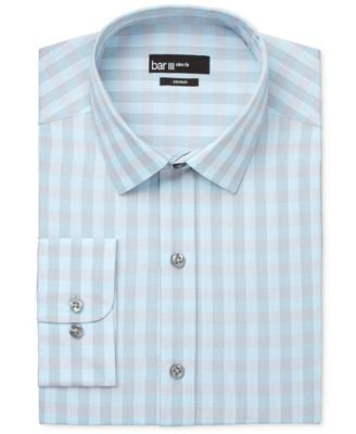 Bar III Men's Slim-Fit Aqua and Silver Checked Dress Shirt, Only at Vogily