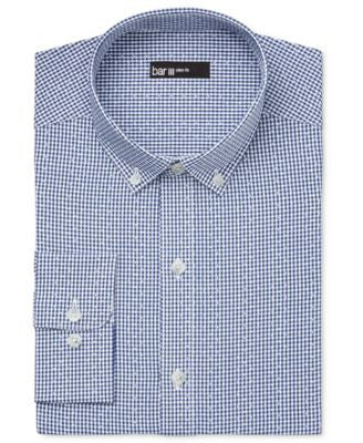 Bar III Men's Slim-Fit Blue Dot Mini Gingham Dress Shirt, Only at Vogily