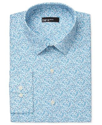 Bar III Men's Slim-Fit Aqua Floral-Print Dress Shirt, Only at Vogily