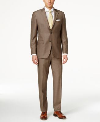 Lauren Ralph Lauren Men's Slim-Fit Medium Brown Pindot Suit