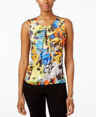 Kasper Printed Pleat-Neck Sleeveless Top