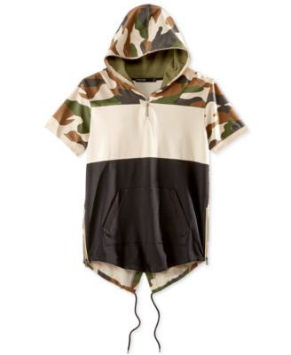 Hudson NYC Men's Colorblocked Camouflage Short-Sleeve Fishtail Hoodie
