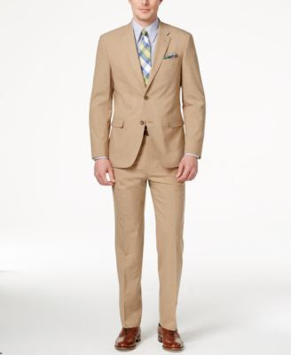 Tommy Hilfiger Men's Slim-Fit Tan Sharkskin Suit