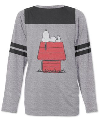 Jem Men's Peanuts Snoopy Lounging Graphic-Print Raglan-Sleeve Football T-Shirt