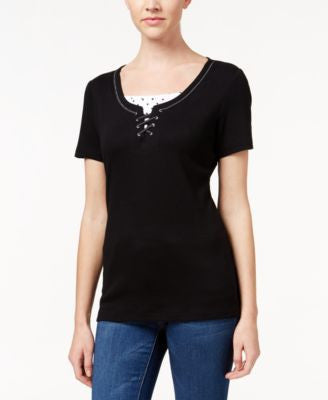 Karen Scott Lace-Up Layered-Look Top, Only at Vogily