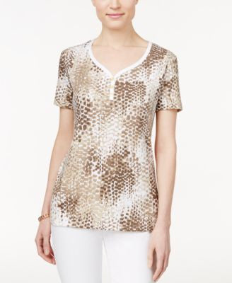 Karen Scott Printed Henley T-Shirt, Only at Vogily