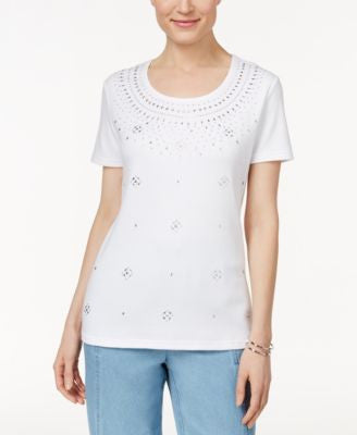 Karen Scott Short-Sleeve Studded Top, Only at Vogily