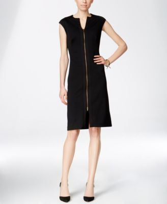 INC International Concepts Textured Zip-Front A-Line Dress, Only at Vogily