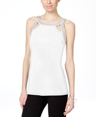 INC International Concepts Embroidered Cutout Tank Top, Only at Vogily