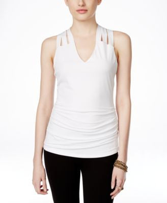 INC International Concepts Sleeveless Lattice-Back Blouse, Only at Vogily