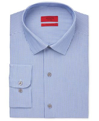 Alfani Men's Fitted Performance Two Blue Check Dress Shirt, Only at Vogily