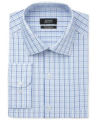 Alfani Men's Performance Blue Triple Check Dress Shirt, Only at Vogily