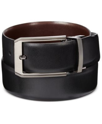 Perry Ellis Men's Leather Mr. Pebble Reversible Belt