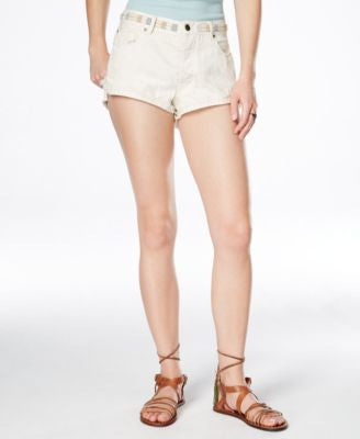Free People Eliot Embroidered Ivory Soda Wash Denim Shorts