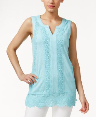 Charter Club Sleeveless Crochet-Trim Top, Only at Vogily