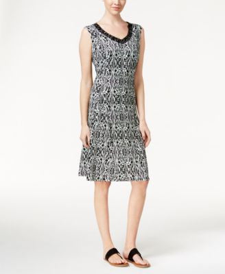 JM Collection Printed V-Neck Dress, Only at Vogily