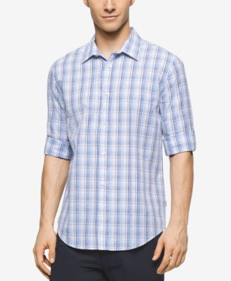 Calvin Klein Men's Long Sleeve Twill Plaid Rollup Shirt