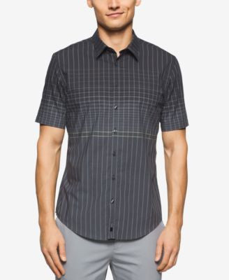 Calvin Klein Men's Ombré Grid-Print Short-Sleeve Shirt